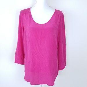 Max studio pink blouse 3/4 sleeve Sz L silk